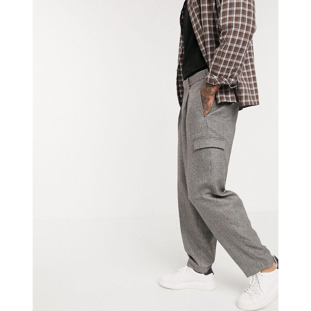 エイソス ASOS DESIGN メンズ スラックス ボトムス・パンツ【smart tapered trousers in grey wool mix micro check】Grey