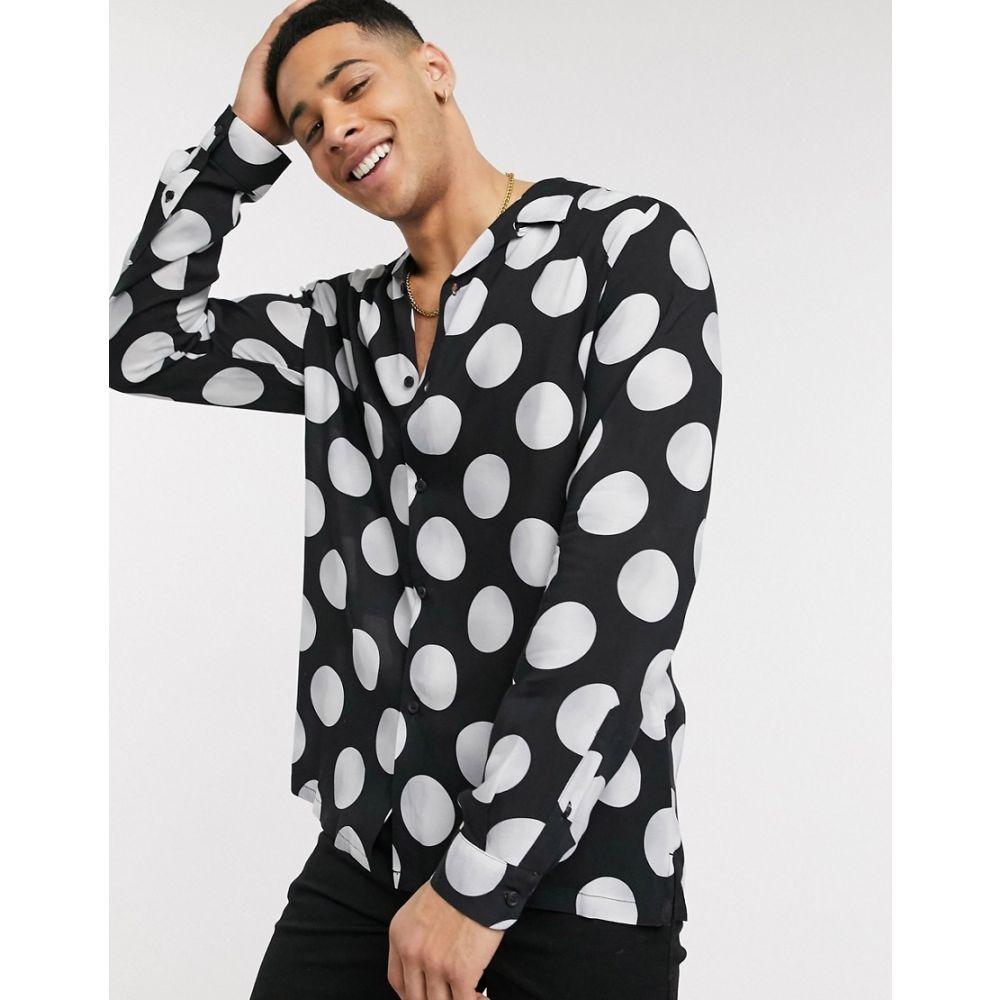 トップマン Topman メンズ シャツ トップス【shirt with polka dot in black】Black