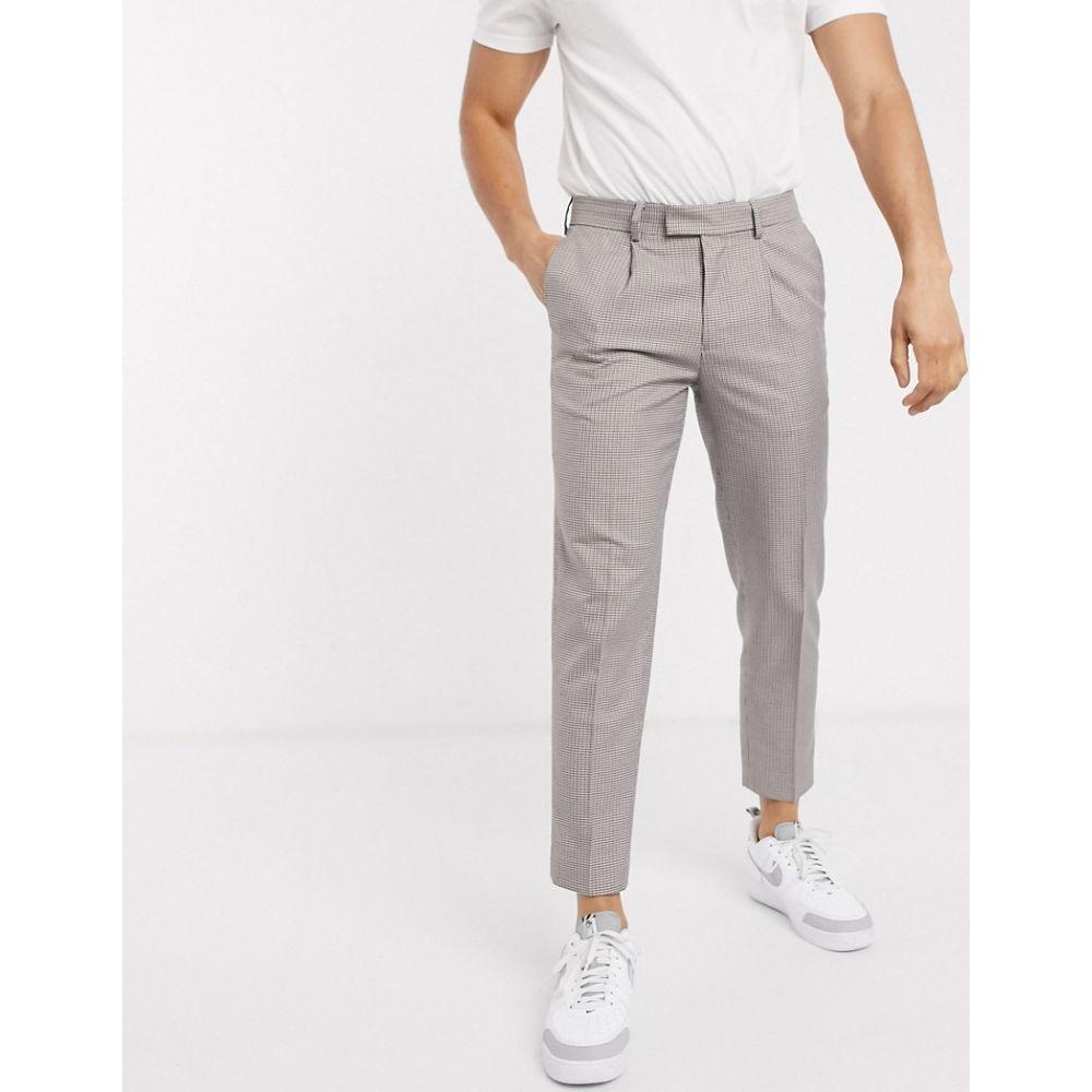 リバーアイランド River Island メンズ スキニー・スリム ボトムス・パンツ【skinny smart trousers in brown check】Brown