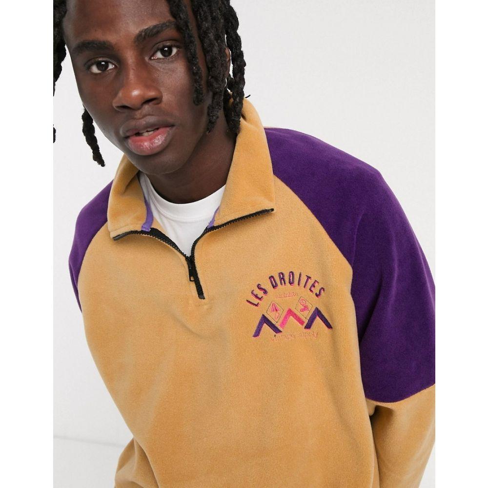 ヴィンテージ サプライ Vintage Supply メンズ フリース トップス【les droites half zip fleece in tan and purple】Cream