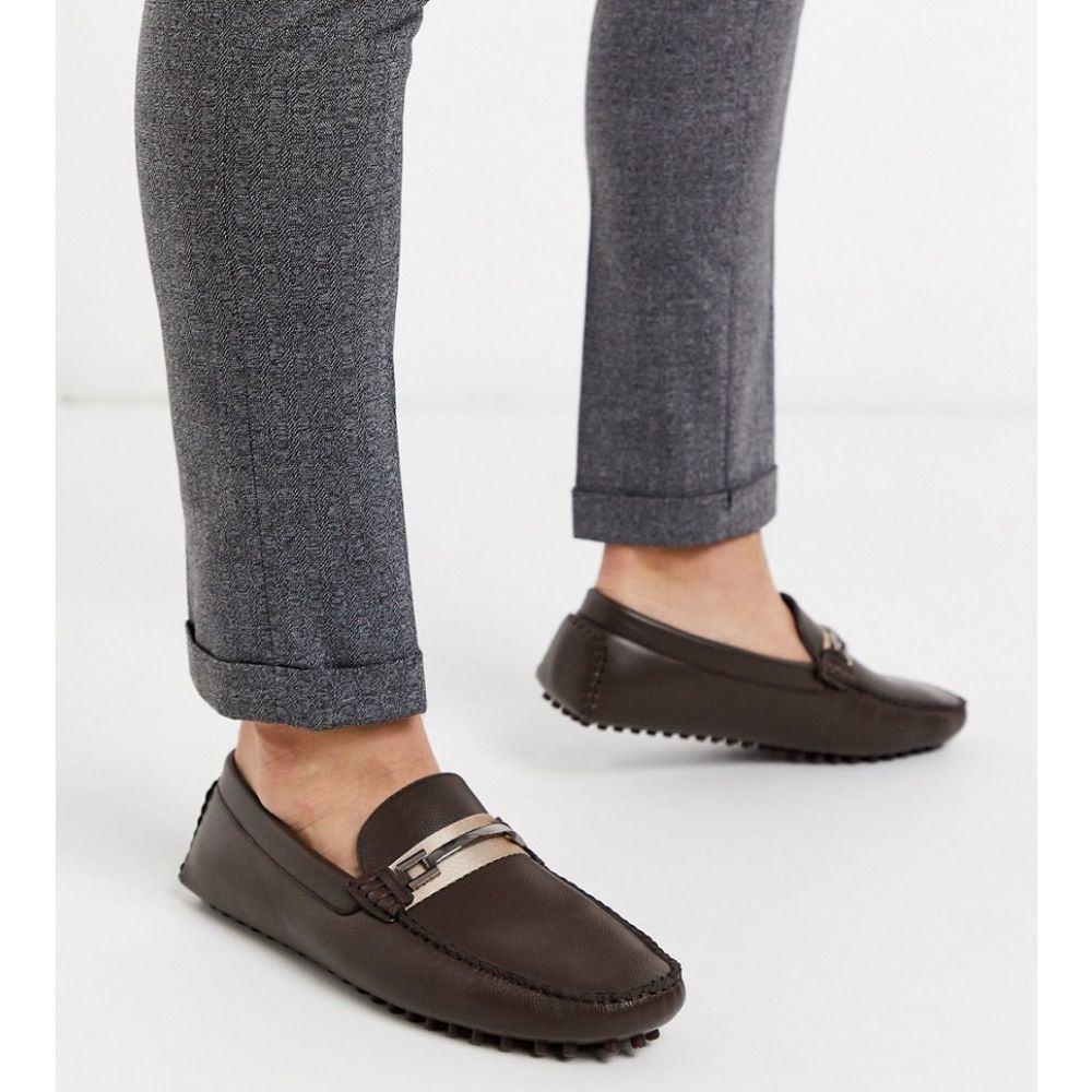 トリュフコレクション Truffle Collection メンズ ローファー シューズ・靴【metal bar loafer in brown】Brown