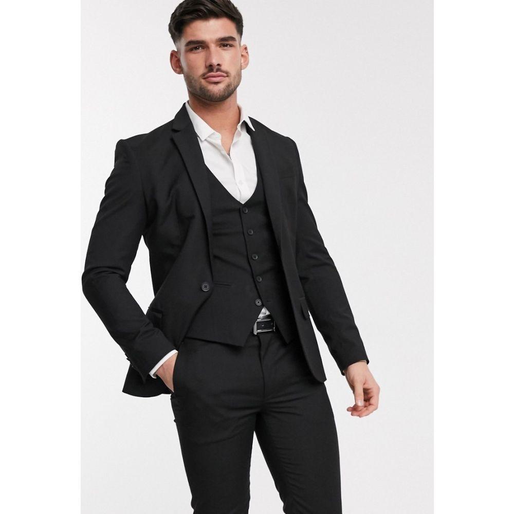 ニュールック New Look メンズ スーツ・ジャケット アウター【skinny suit jacket in black】Black