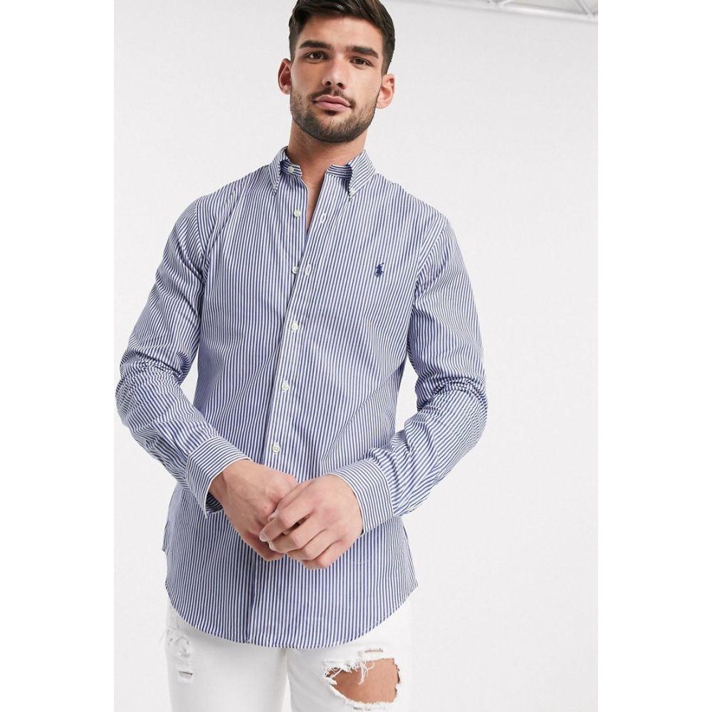 ラルフ ローレン Polo Ralph Lauren メンズ シャツ トップス【stripe poplin shirt slim fit player logo in blue】white/blue