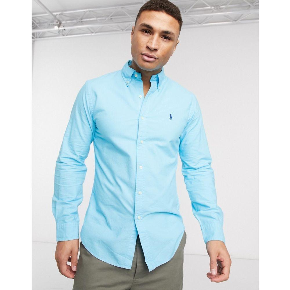 ラルフ ローレン Polo Ralph Lauren メンズ シャツ トップス【garment dyed oxford shirt slim fit player logo in turquoise blue】French turquoise