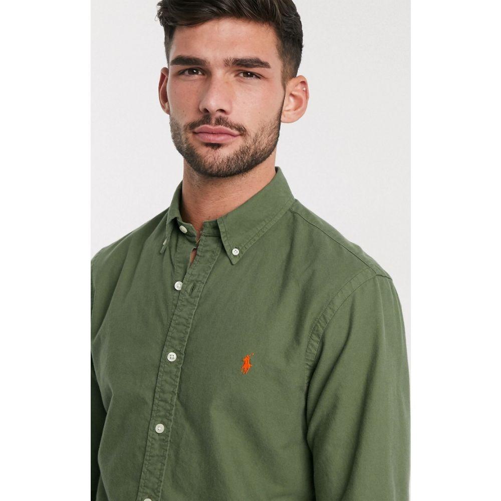 ラルフ ローレン Polo Ralph Lauren メンズ シャツ トップス【garment dyed oxford shirt slim fit player logo in olive green】Supply olive