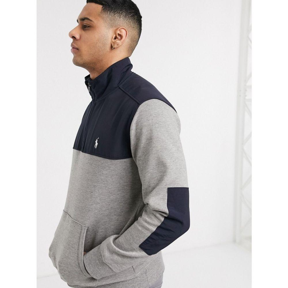 ラルフ ローレン Polo Ralph Lauren メンズ スウェット・トレーナー トップス【double tech nylon mix half zip sweatshirt player logo in grey marl/navy】Battalion heather