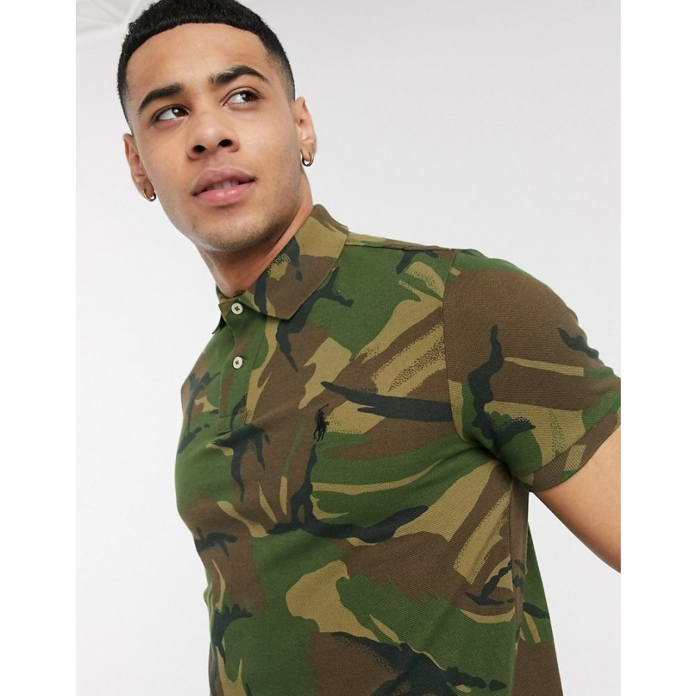 ラルフ ローレン Polo Ralph Lauren メンズ ポロシャツ トップス【slim fit pique polo in camo print with player logo】British elmwood camo