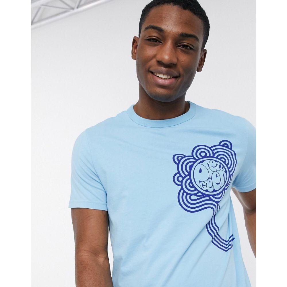 プリティー グリーン Pretty Green メンズ Tシャツ トップス【large logo graphic t-shirt in blue】Blue