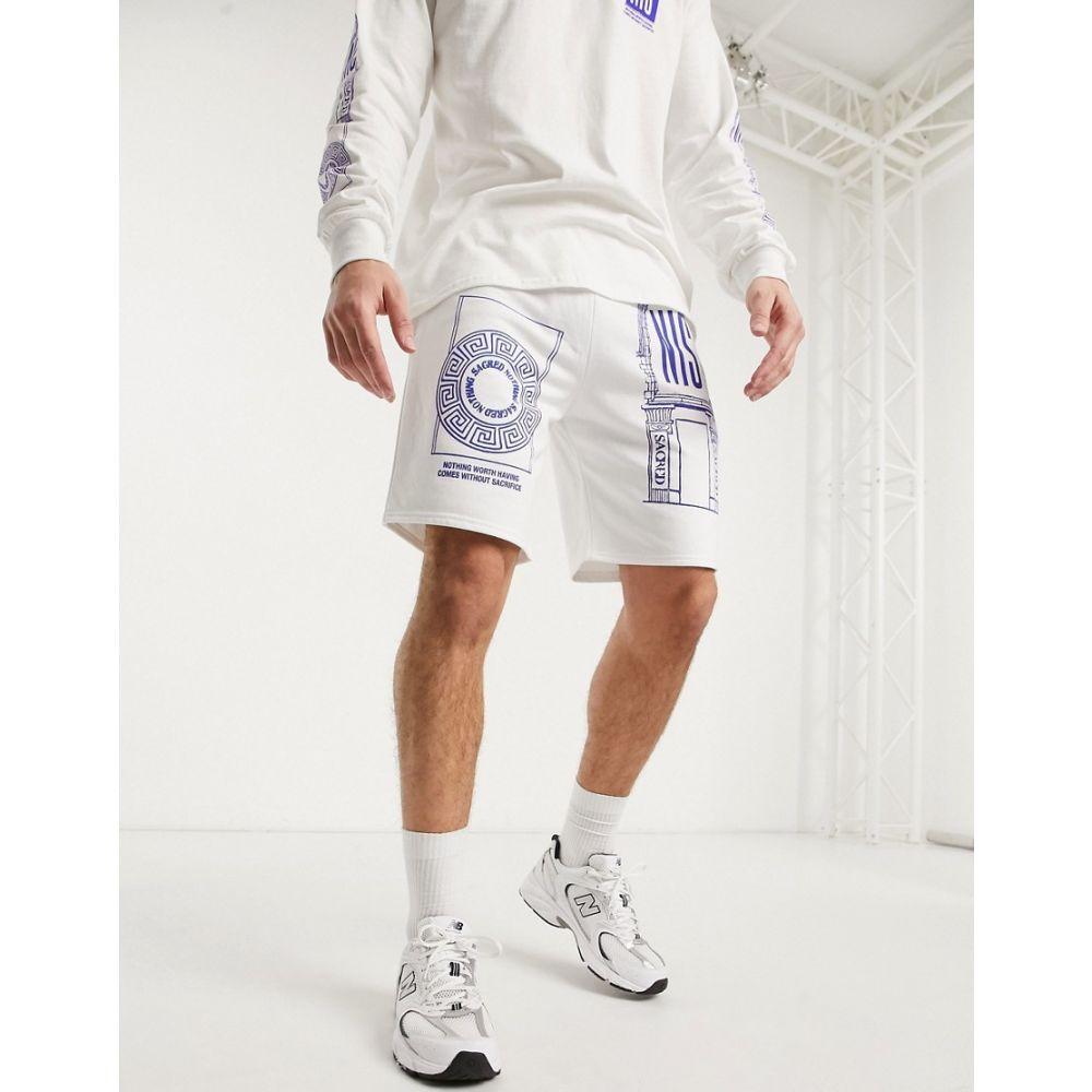 ナッシング イズ セイクリッド Nothing Is Sacred メンズ ショートパンツ ボトムス・パンツ【temple print shorts in white】White