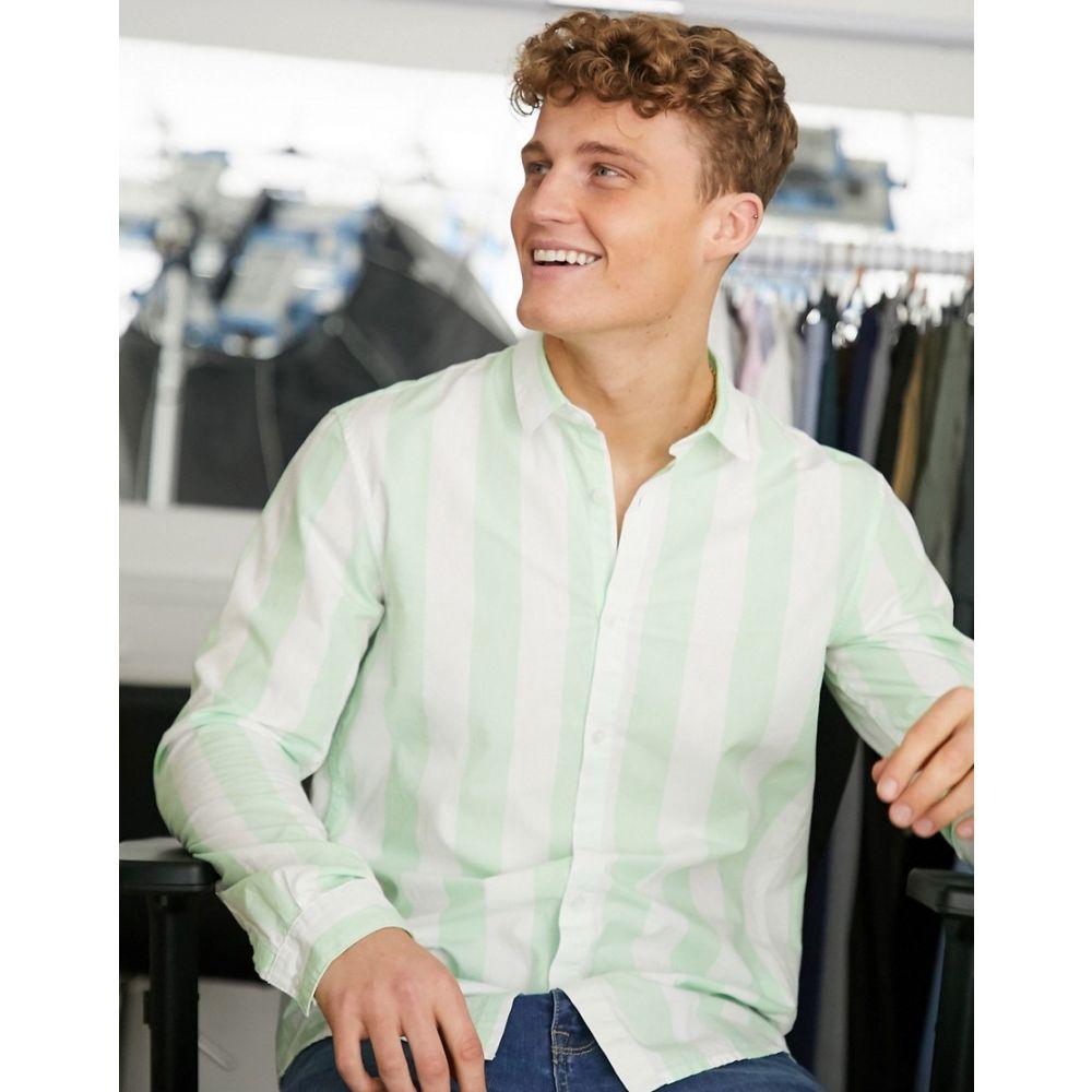 トムテイラー Tom Tailor メンズ シャツ トップス【striped yarn dyed shirt in white and green】White