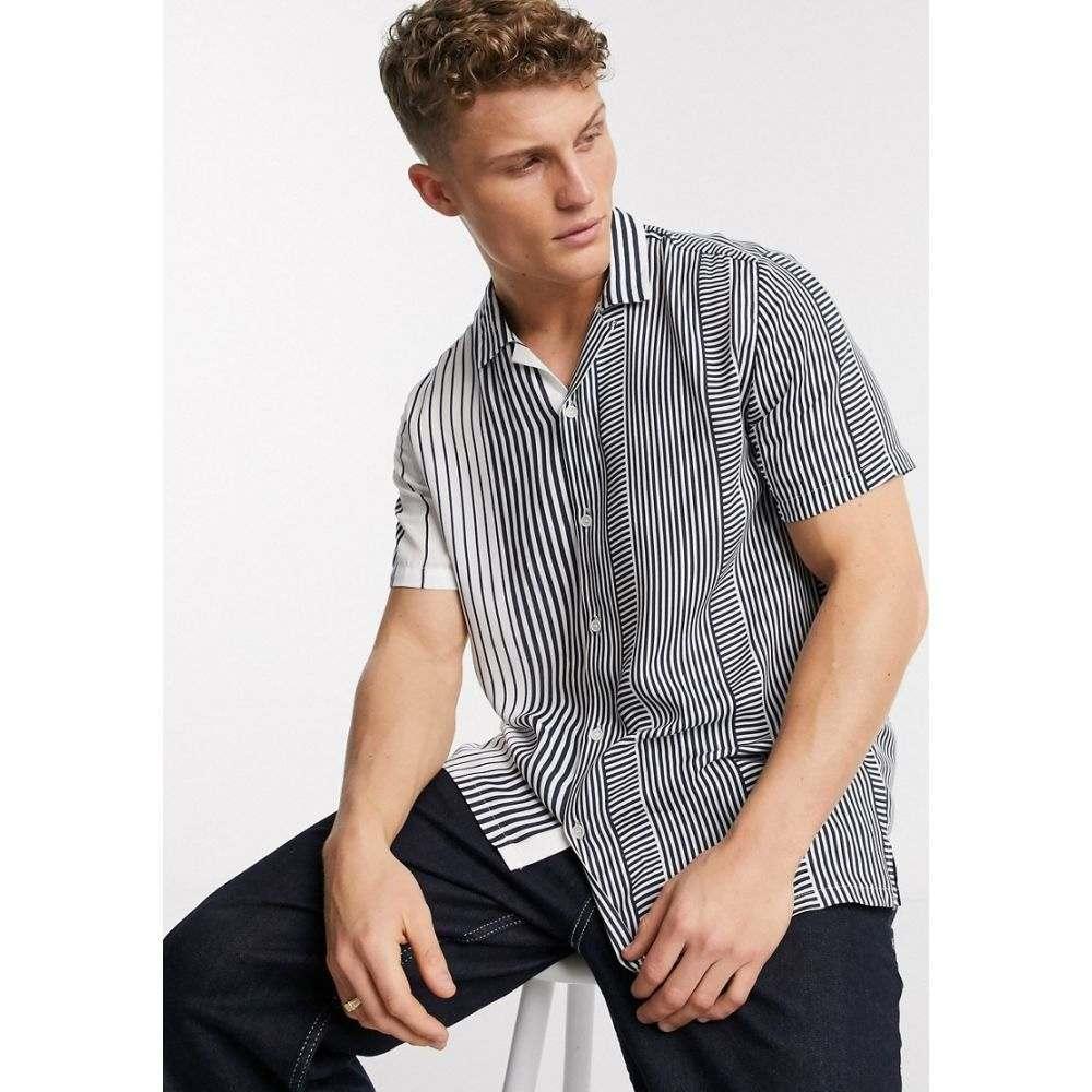 トップマン Topman メンズ 半袖シャツ トップス【short sleeve revere shirt in blue stripe】Blue