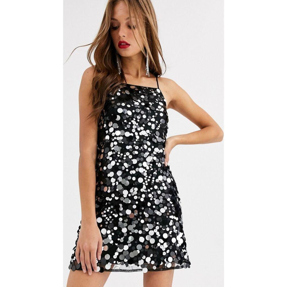 エイソス ASOS DESIGN レディース ワンピース キャミワンピ ワンピース・ドレス【mini cami dress in disc sequin】Black/silver