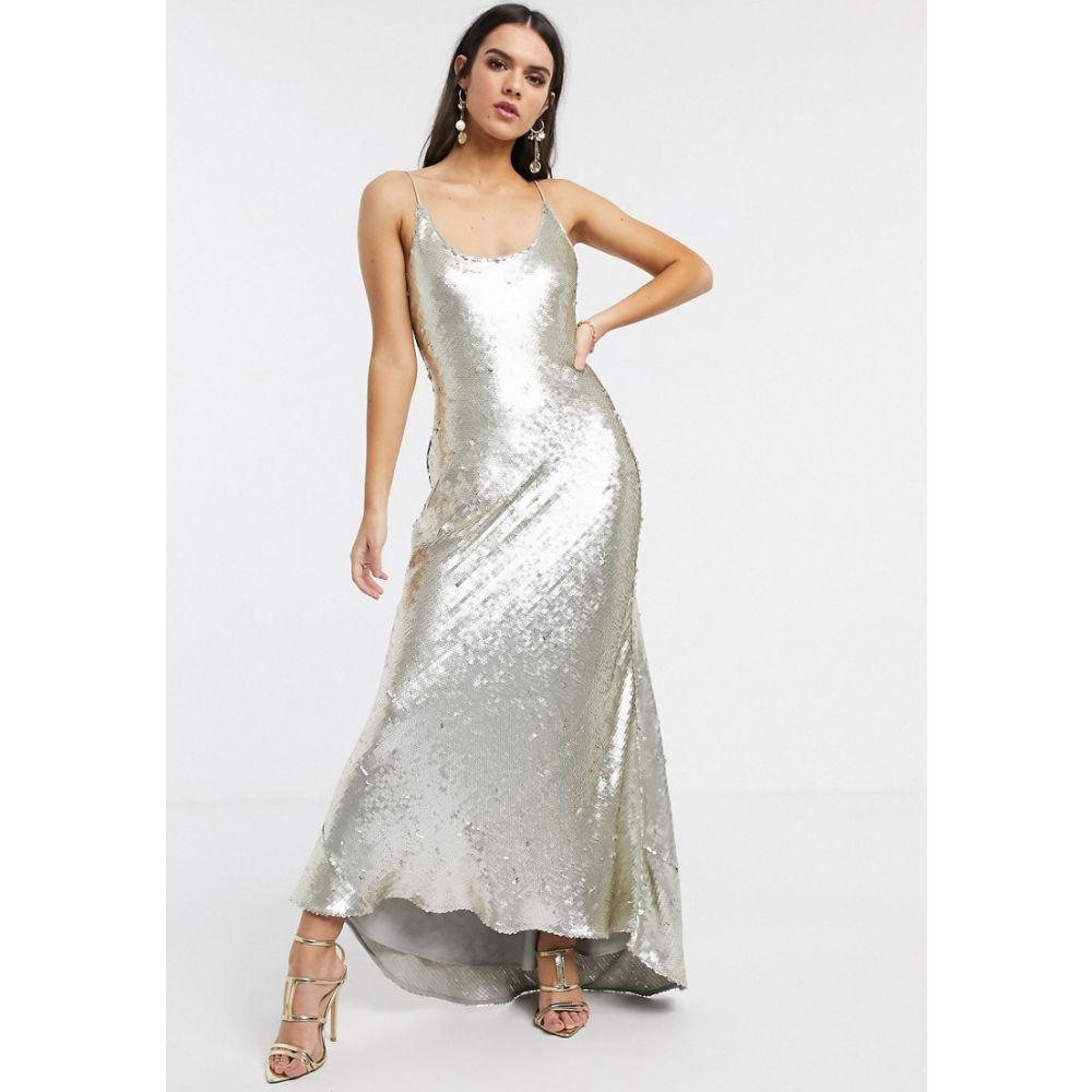 エイソス ASOS DESIGN レディース ワンピース キャミワンピ ワンピース・ドレス【cami embellished maxi dress】Silver