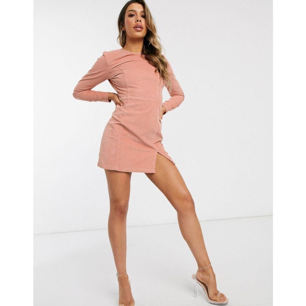エイソス ASOS DESIGN レディース ワンピース ミニ丈 ワンピース・ドレス【cord mini dress with split front in light pink】Pink