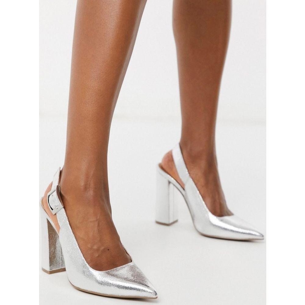エイソス ASOS DESIGN レディース ヒール シューズ・靴【Planet slingback high block heels in silver crackle】Silver crackle