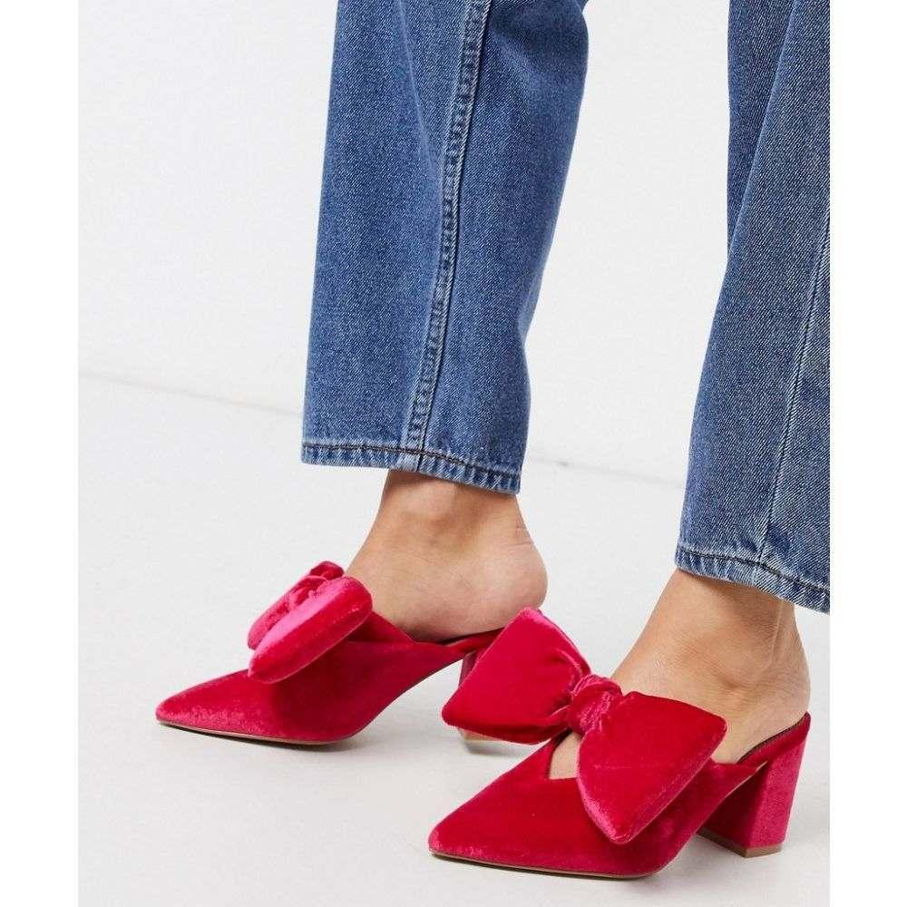 エイソス ASOS DESIGN レディース サンダル・ミュール シューズ・靴【Sweetness block heel bow mules in pink velvet】Pink velvet