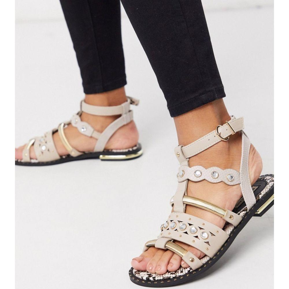 リバーアイランド River Island レディース サンダル・ミュール フラット シューズ・靴【embellished flat sandal in nude】Light pink