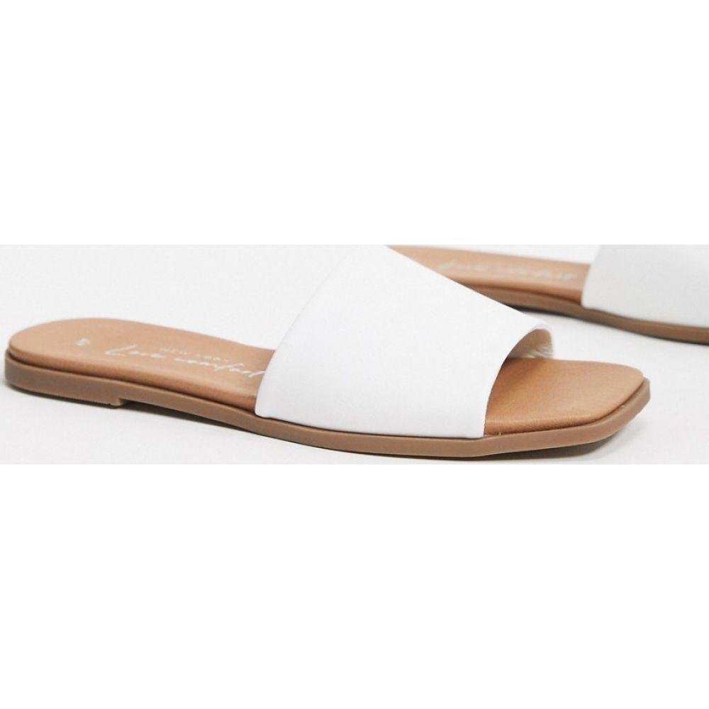 ニュールック New Look レディース サンダル・ミュール スクエアトゥ シューズ・靴【leather look square toe flat mules in white】White
