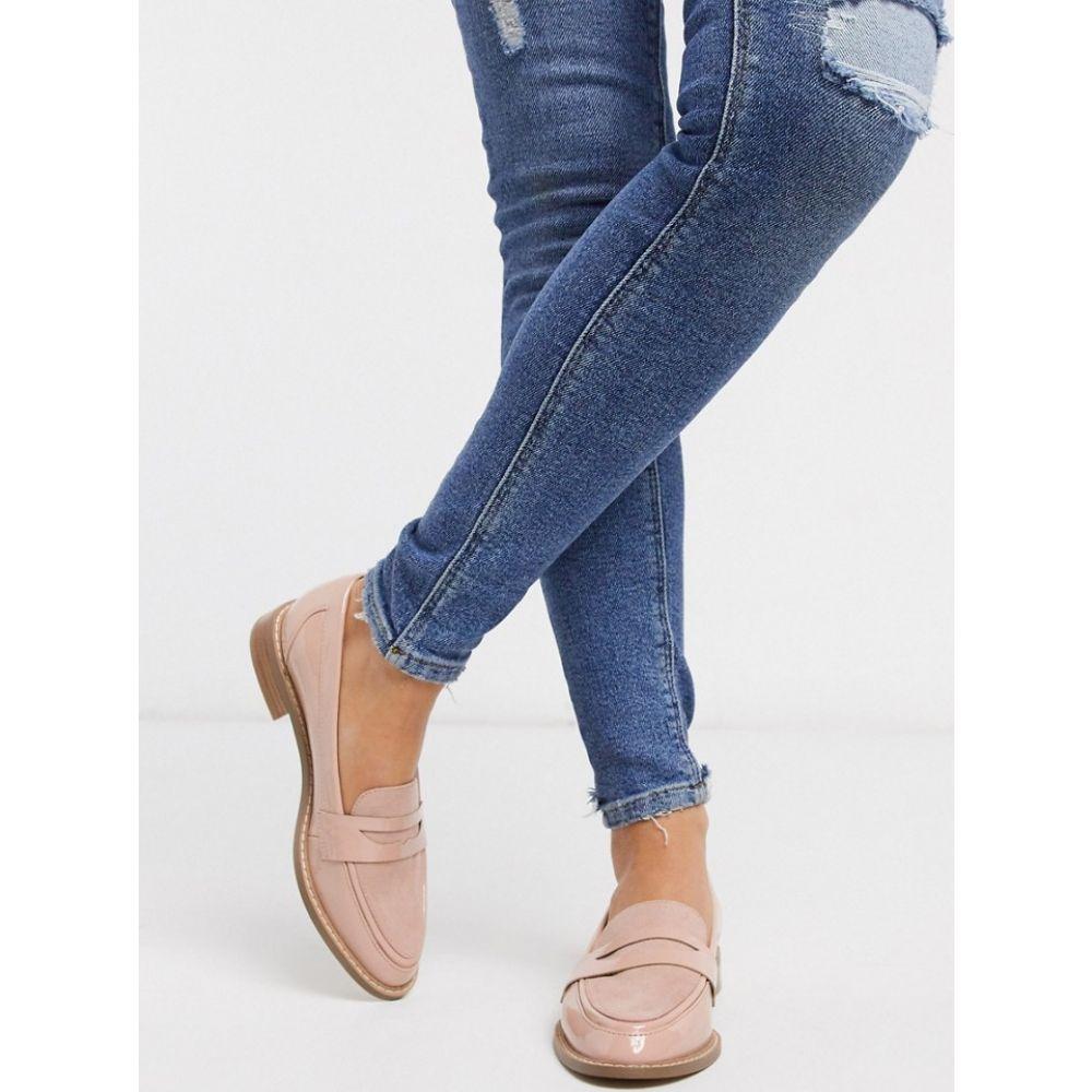 エイソス ASOS DESIGN レディース ローファー・オックスフォード シューズ・靴【Mail loafer flat shoes in beige patent】Beige patent