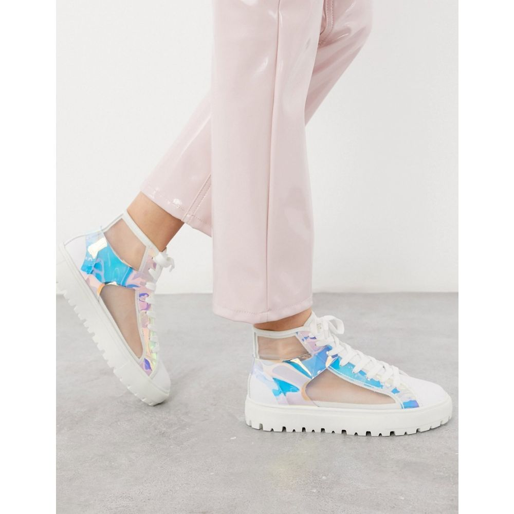 エイソス ASOS DESIGN レディース スニーカー シューズ・靴【Dazzle high-top mesh trainers in iridescent and white】White iri