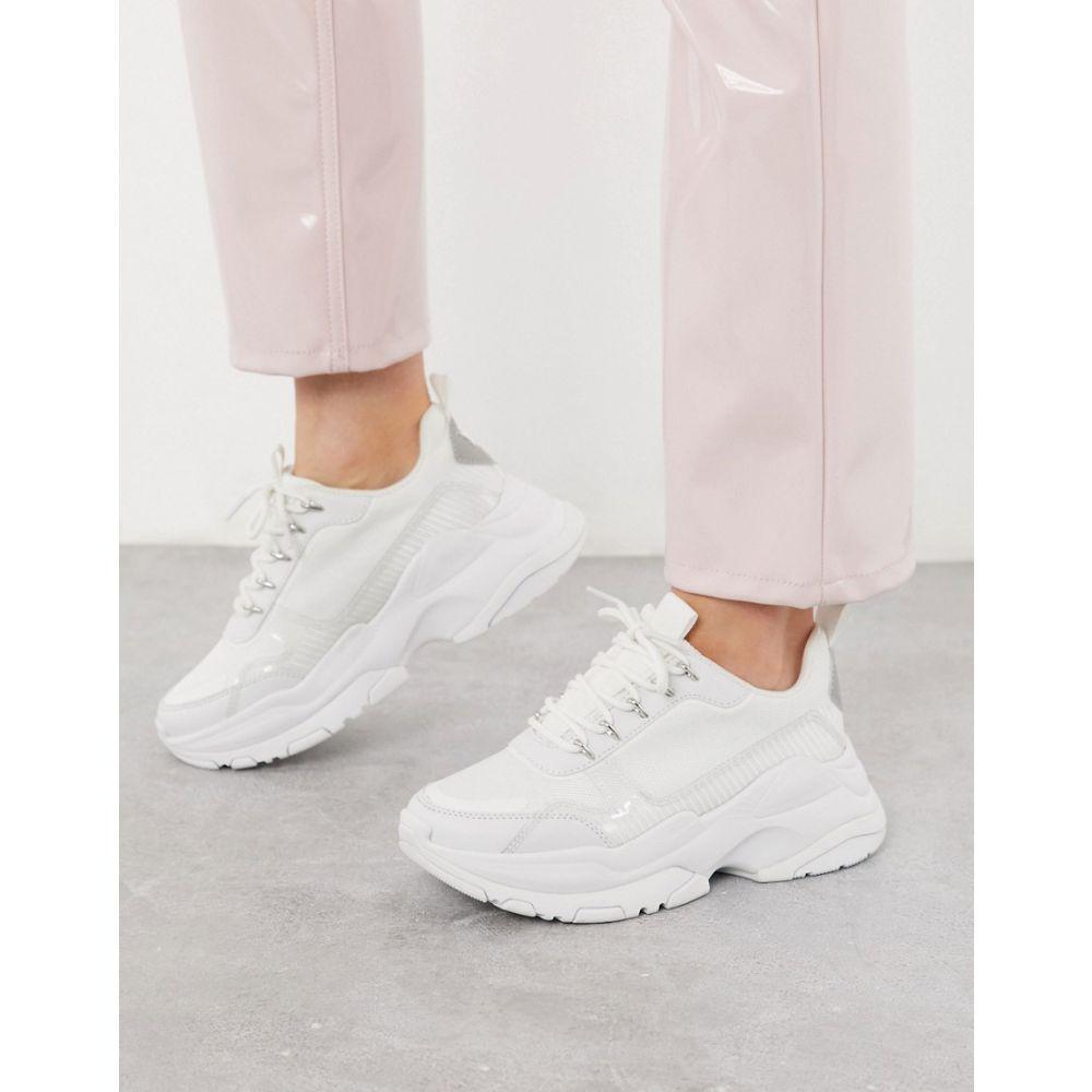 エイソス ASOS DESIGN レディース スニーカー チャンキーヒール シューズ・靴【Darling chunky trainers in white mix】White mix