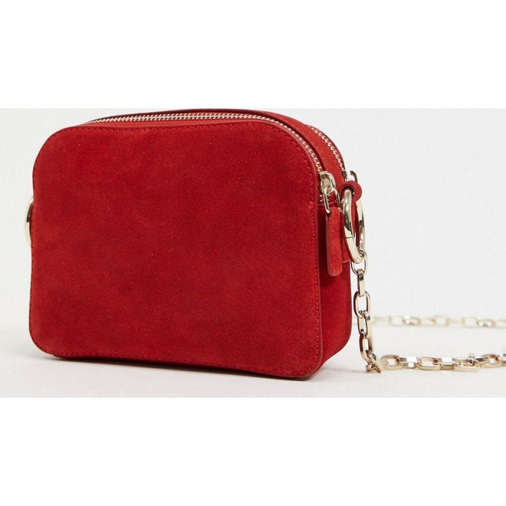 エイソス ASOS DESIGN レディース ショルダーバッグ カメラバッグ バッグ【SUEDE oversized camera bag with hardware】Red