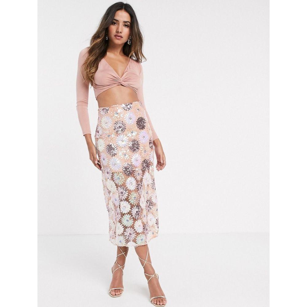 エイソス ASOS DESIGN レディース ひざ丈スカート スカート【floral sequin midi skirt】Multi