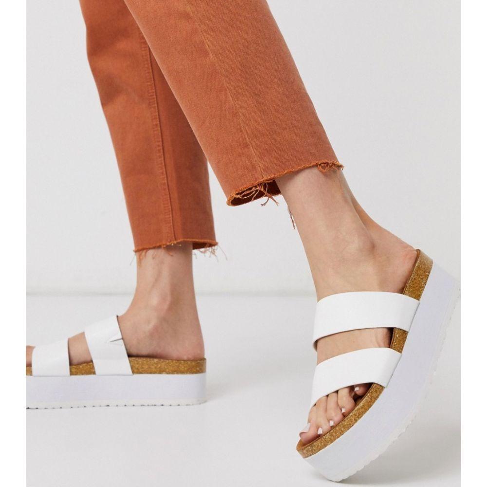 エイソス ASOS DESIGN レディース サンダル・ミュール チャンキーヒール シューズ・靴【Fiery chunky double strap mule sandals in white】White