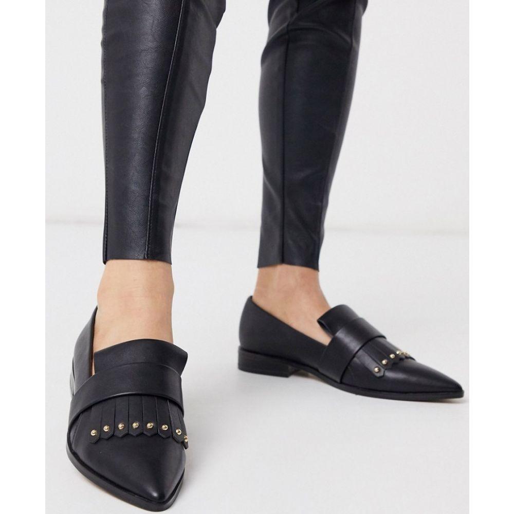 エイソス ASOS DESIGN レディース ローファー・オックスフォード シューズ・靴【Manor studded fringed loafers in black】Black