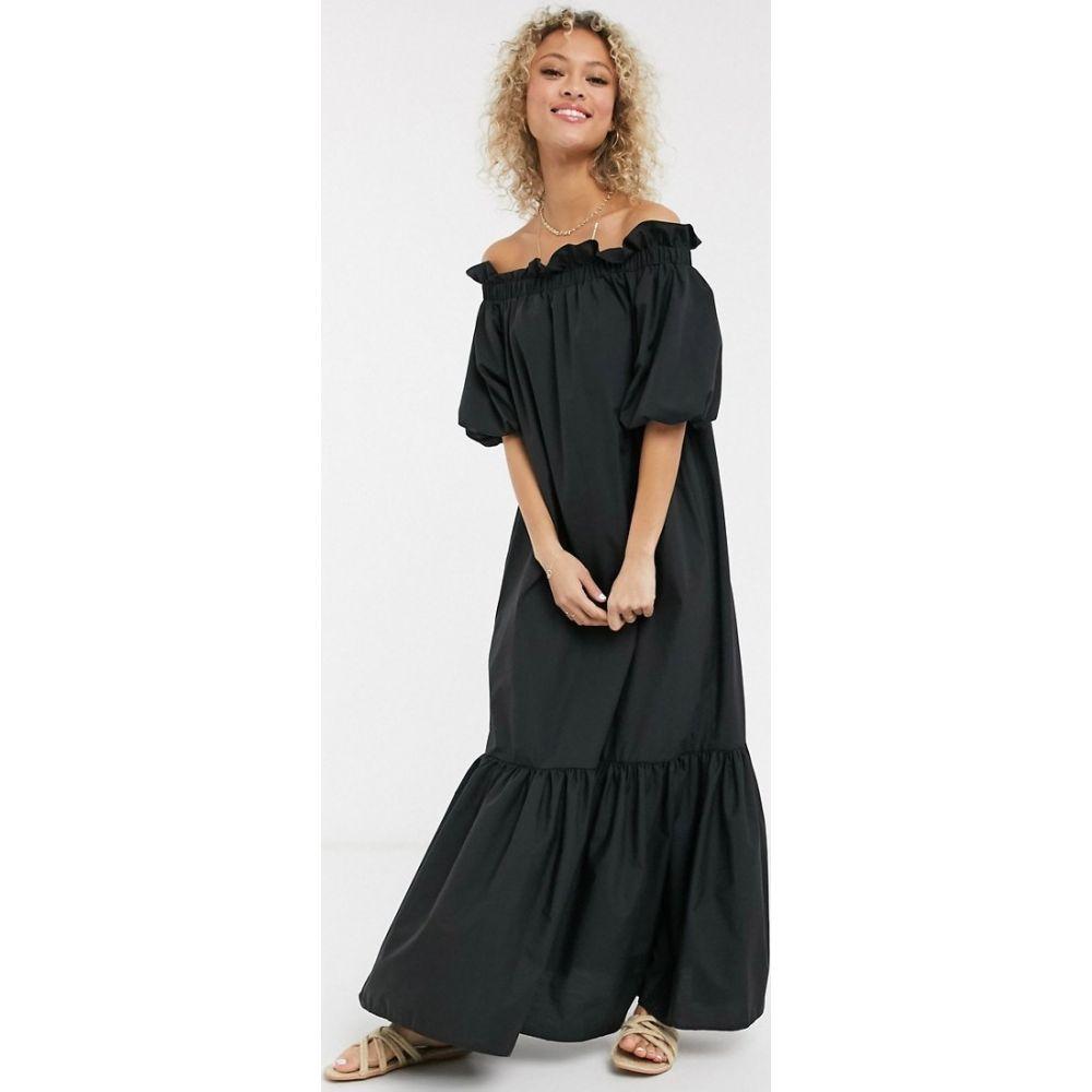 エイソス ASOS DESIGN レディース ワンピース マキシ丈 ワンピース・ドレス【cotton poplin off shoulder maxi dress with pephem in black】Black