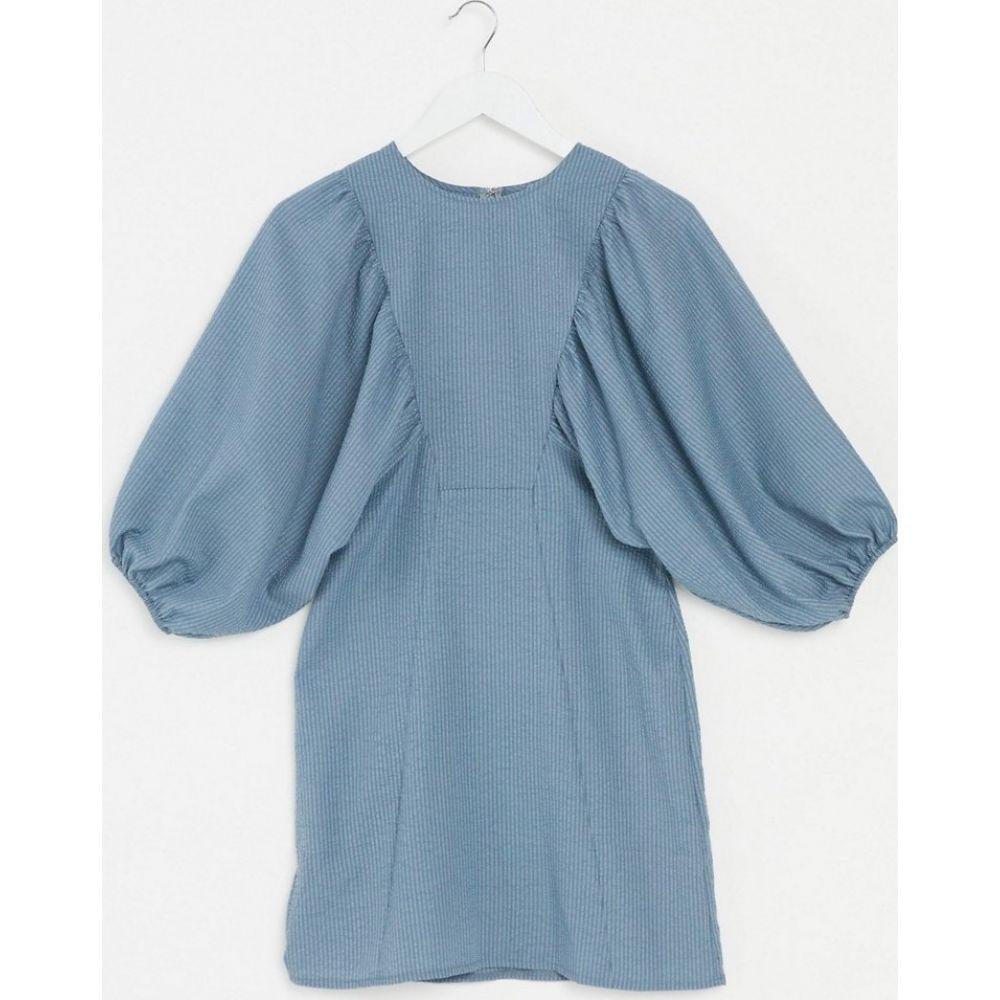 エイソス ASOS DESIGN レディース ワンピース ミニ丈 ワンピース・ドレス【textured mini dress with puff sleeves in blue】Blue