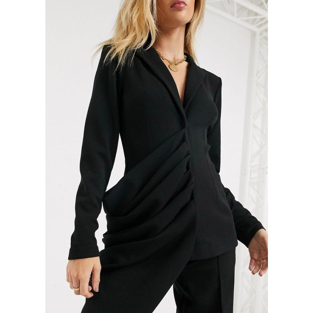 エイソス ASOS DESIGN レディース スーツ・ジャケット アウター【jersey asymmetric drape detail long line blazer】Black