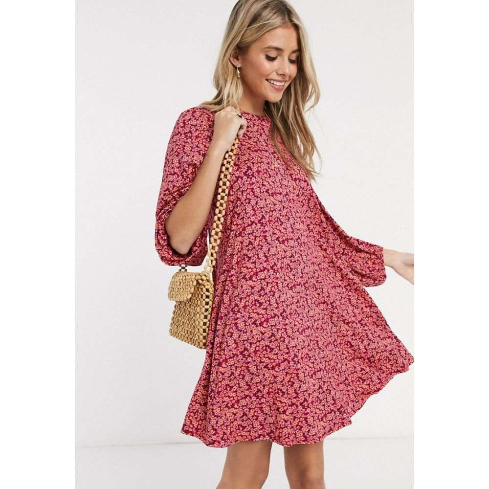 エイソス ASOS DESIGN レディース ワンピース ワンピース・ドレス【mini dress with volume sleeve in floral print in pink】Pink floral