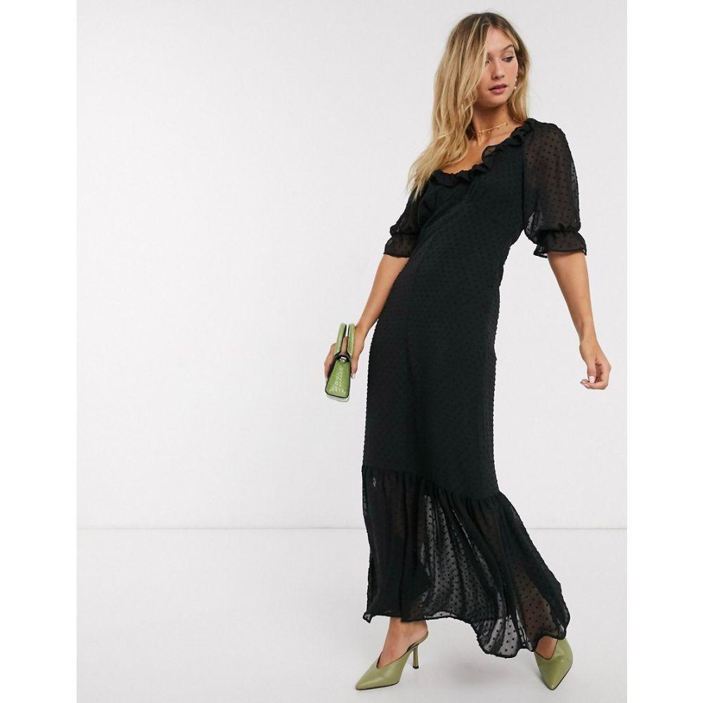 エイソス ASOS DESIGN レディース ワンピース マキシ丈 ワンピース・ドレス【scoop neck maxi dress in dobby in black】Black
