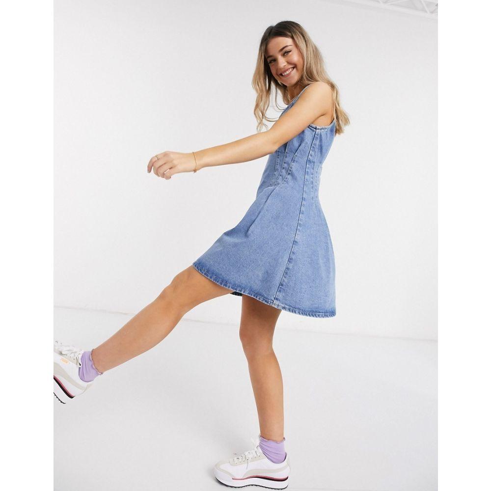 エイソス ASOS DESIGN レディース ワンピース デニム ミニ丈 ワンピース・ドレス【denim pintuck waist mini dress in blue】Blue