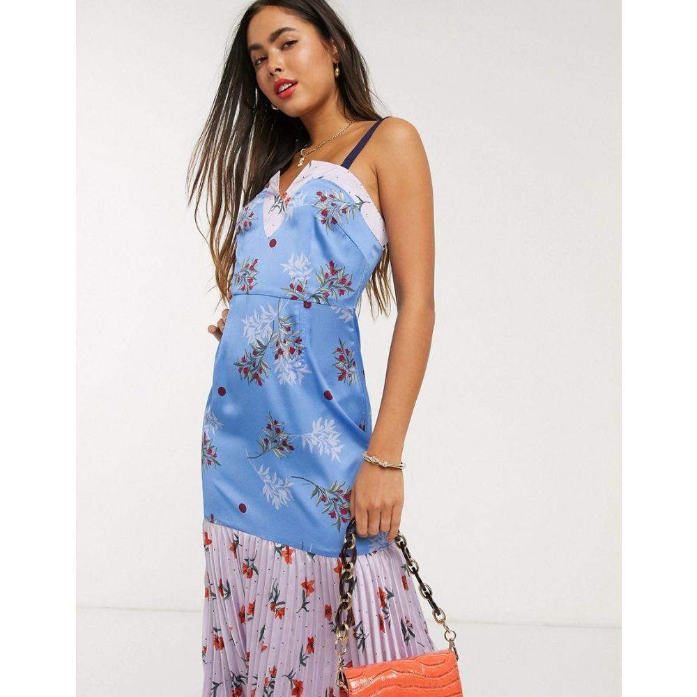 リカリッシュ Liquorish レディース ワンピース キャミワンピ ワンピース・ドレス【cami dress with pleats in mixed floral print】Blue/lilac