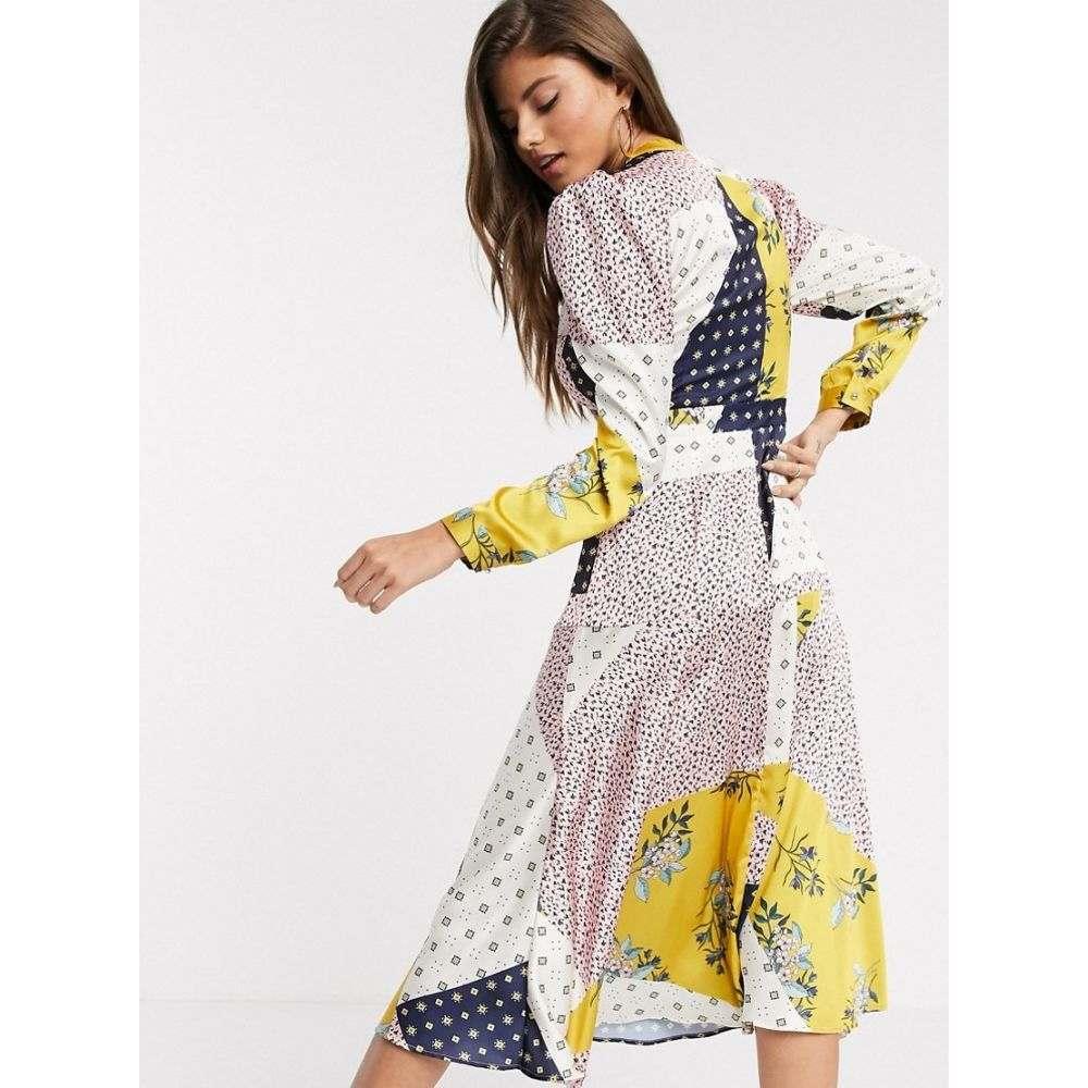 リカリッシュ Liquorish レディース ワンピース ラップドレス ワンピース・ドレス【wrap front dress in ditsy patchwork print】Yellow/navy