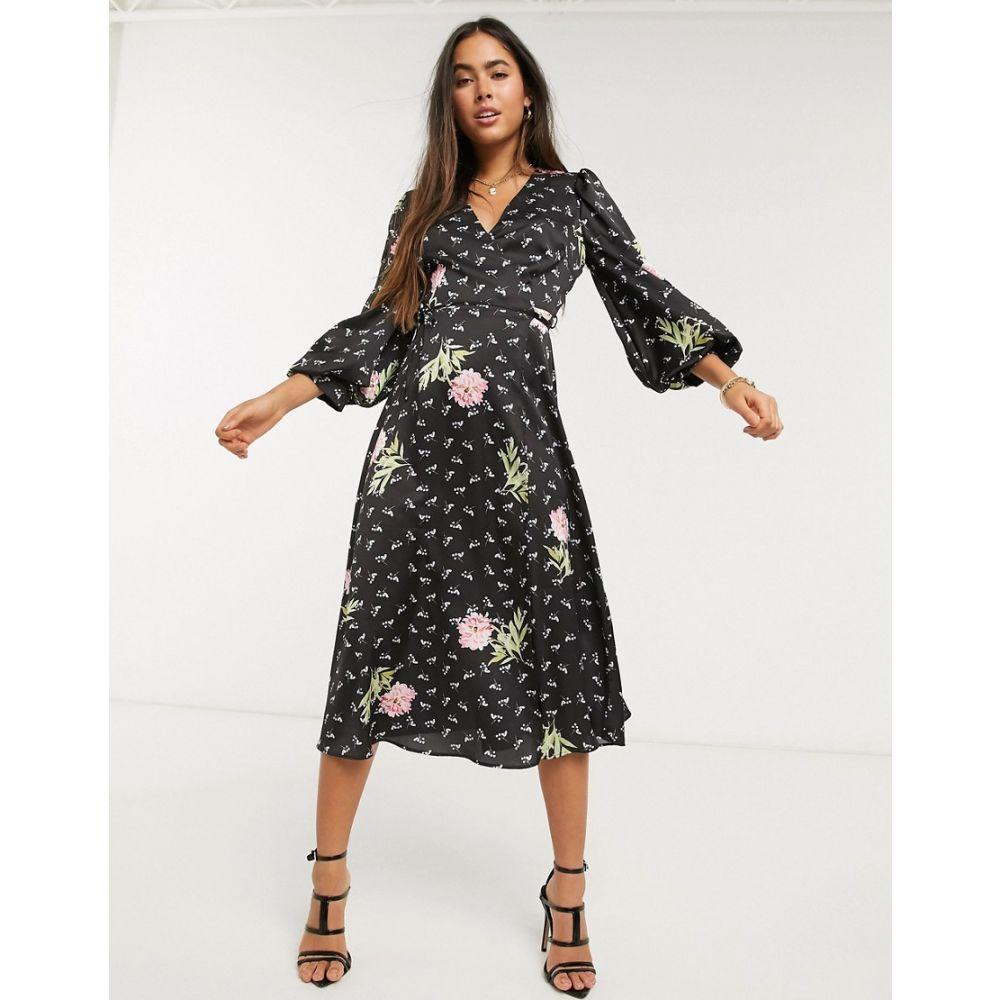 リカリッシュ Liquorish レディース ワンピース ラップドレス ワンピース・ドレス【puff sleeve wrap dress in pink floral】Black