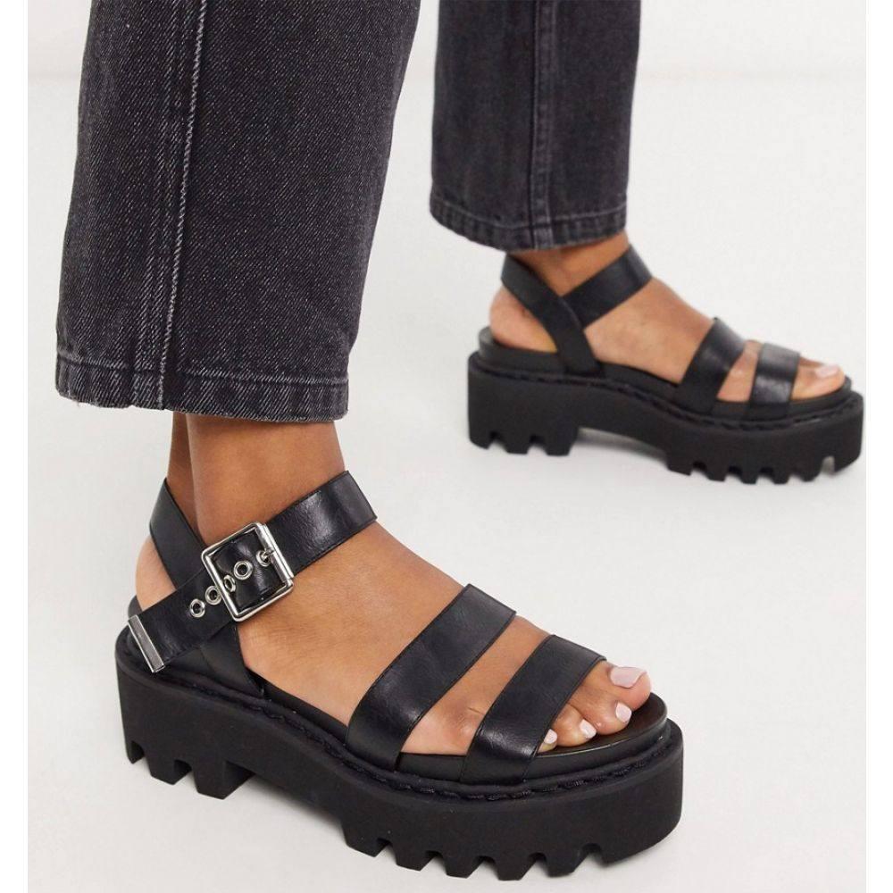 ラ モーダ Lamoda レディース サンダル・ミュール チャンキーヒール シューズ・靴【chunky sandals in black】Black