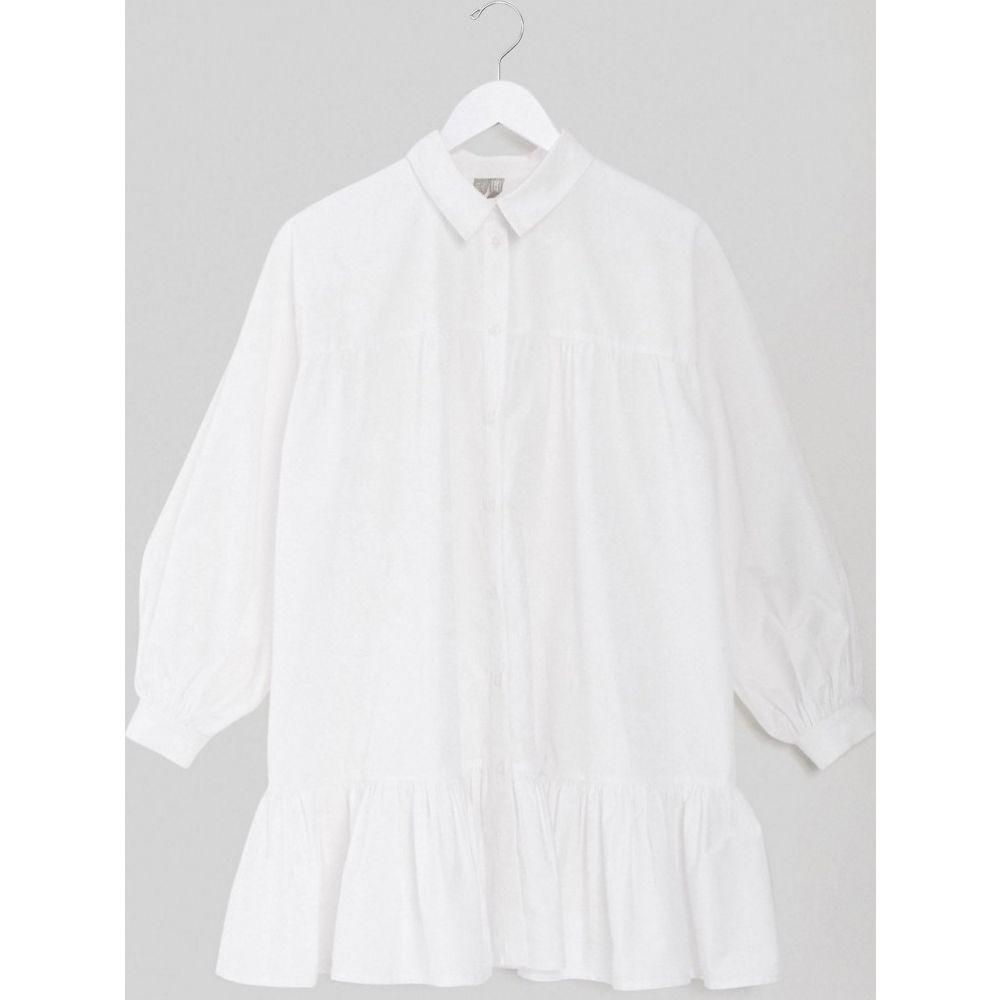 エイソス ASOS DESIGN レディース ワンピース シャツワンピース ワンピース・ドレス【cotton poplin trapeze oversized mini shirt dress】White
