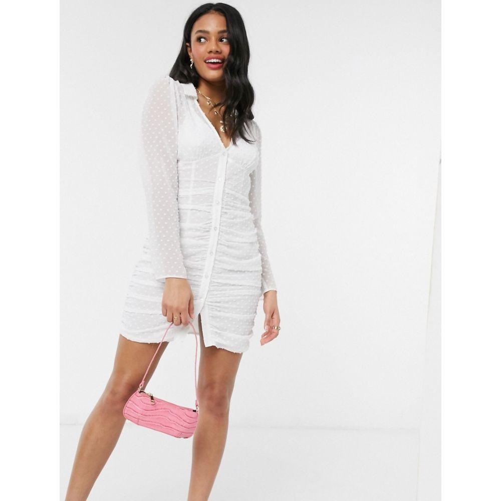 エイソス ASOS DESIGN レディース ワンピース ミニ丈 ワンピース・ドレス【ruched button through mini dress in dobby in white】White
