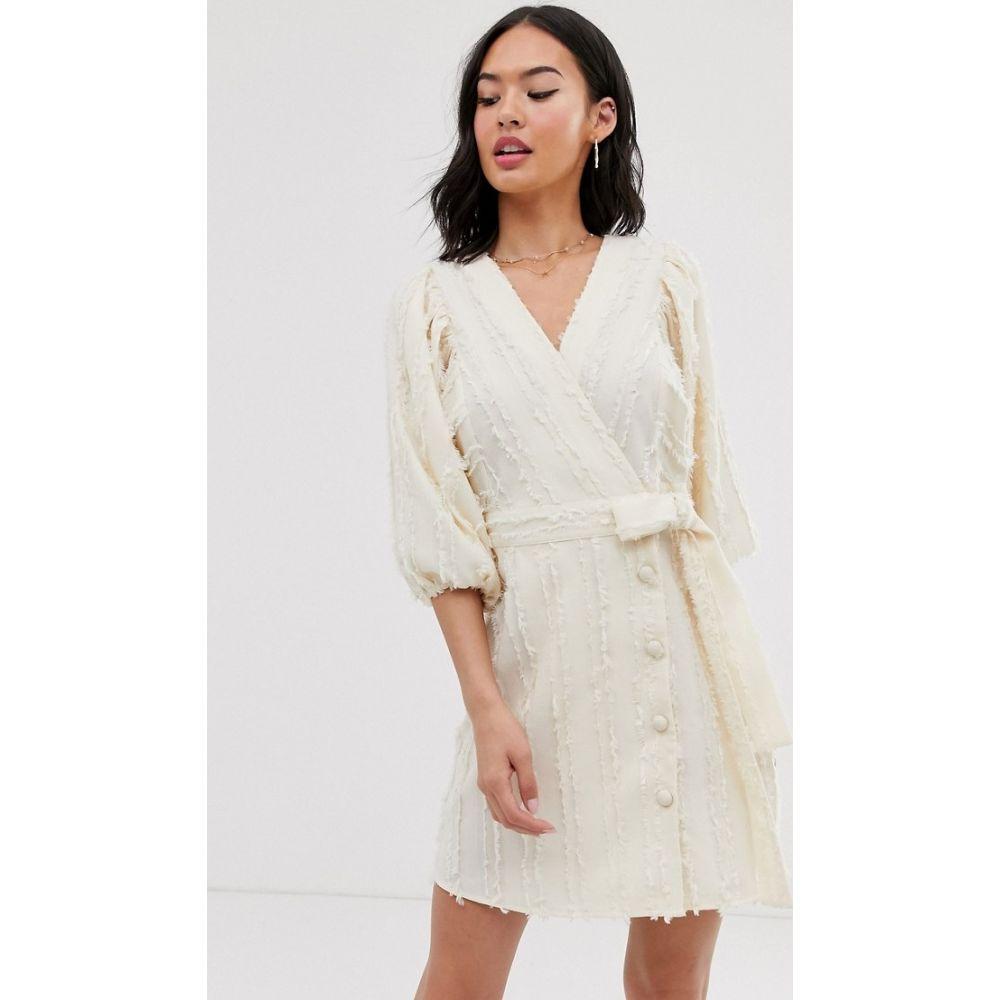ムーンリバー Moon River レディース ワンピース ラップドレス ミニ丈 ワンピース・ドレス【volume sleeve wrap mini dress】Cream