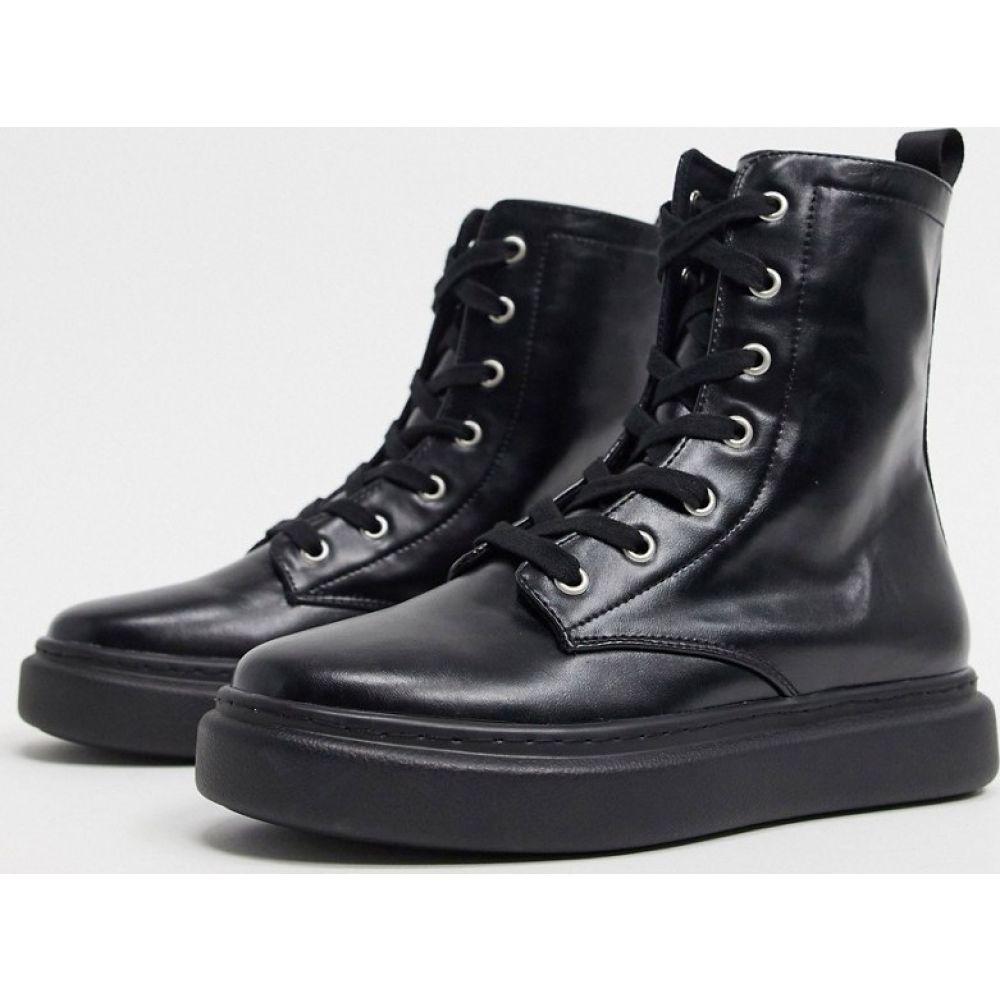 エイソス ASOS DESIGN レディース ブーツ ショートブーツ レースアップブーツ シューズ・靴【Aston lace up flat ankle boot in black】Black