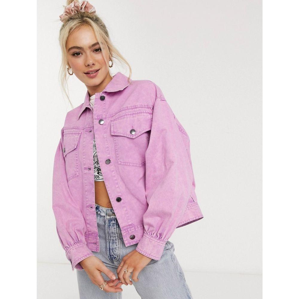エイソス ASOS DESIGN レディース ジャケット アウター【oversized acid washed jacket in pink】Pink