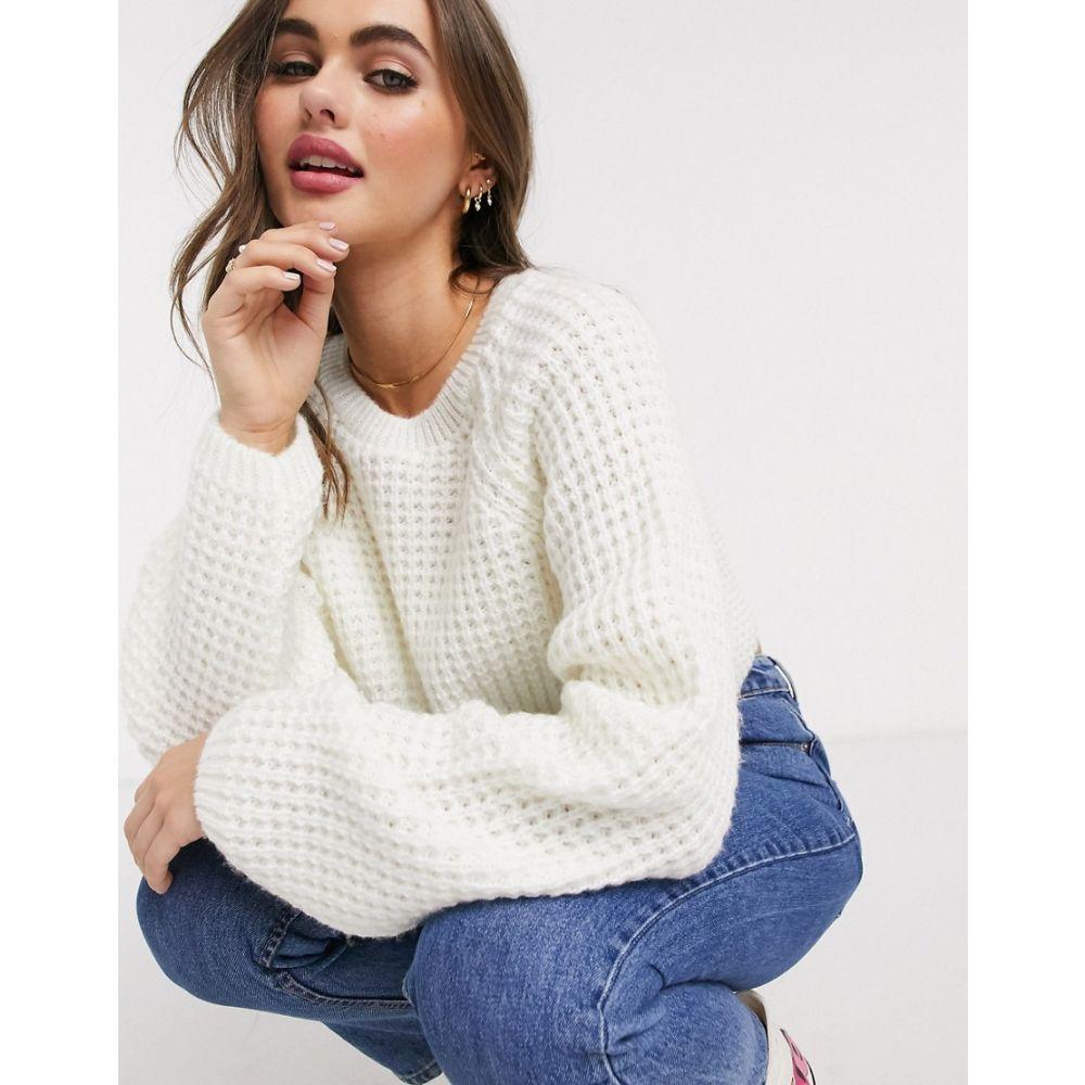 エイソス ASOS DESIGN レディース ニット・セーター トップス【stitch detail chunky jumper】Cream