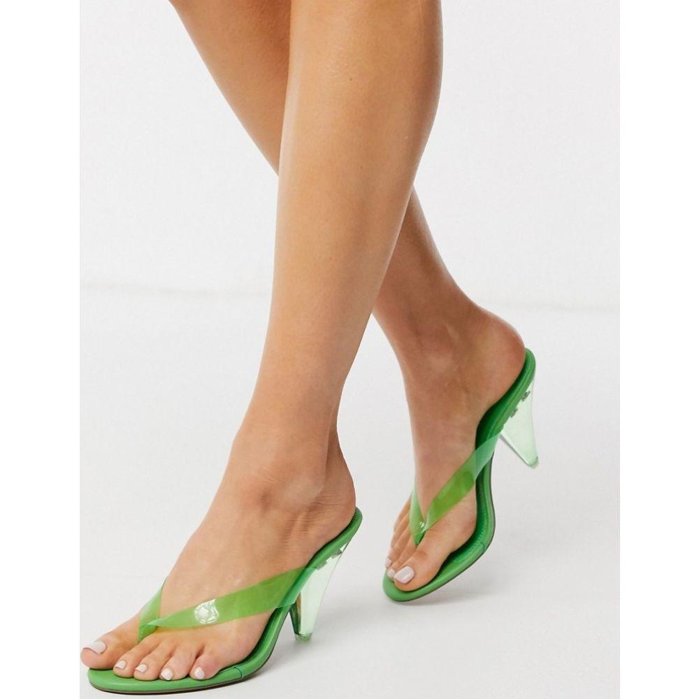 エイソス ASOS DESIGN レディース ビーチサンダル シューズ・靴【Niko flip flop heeled sandals in green】Green