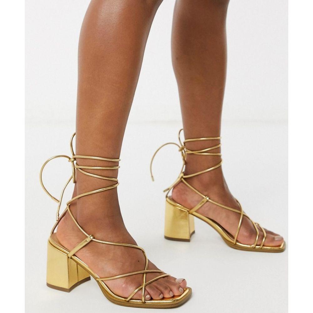 エイソス ASOS DESIGN レディース サンダル・ミュール シューズ・靴【Hideout block heeled minimal strap sandals in gold】Gold