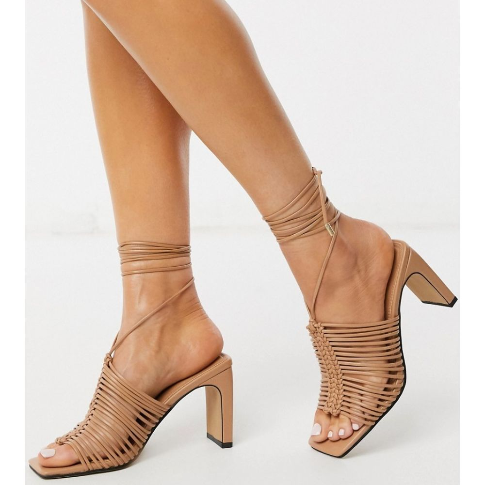 エイソス ASOS DESIGN レディース サンダル・ミュール シューズ・靴【Halo plaited mid-heeled sandals in beige】Beige