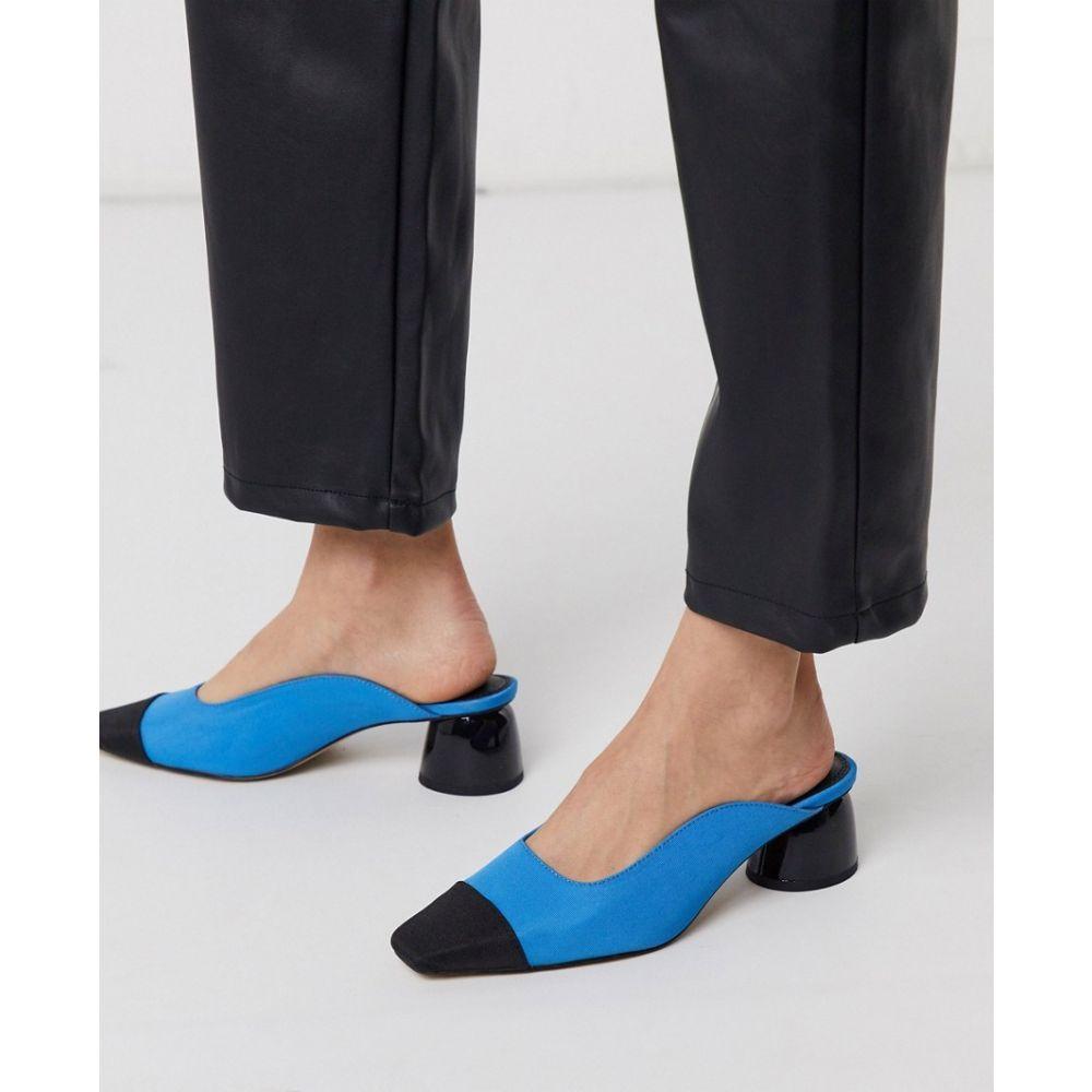 エイソス ASOS DESIGN レディース サンダル・ミュール シューズ・靴【Slaide block heeled mules in cyan blue and black】Cyan blue/black