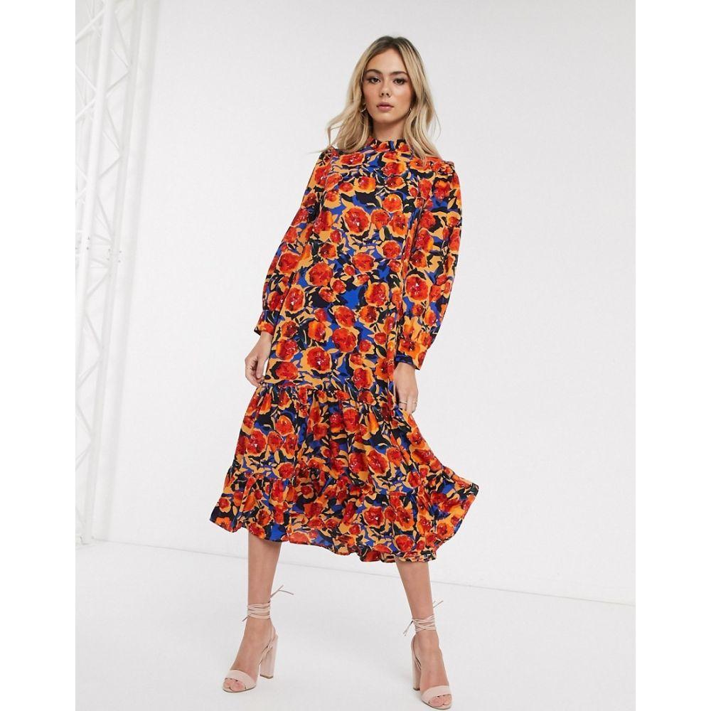 ネバーフリードレス Never Fully Dressed レディース ワンピース ワンピース・ドレス【frill neck swing midaxi dress in contrast floral print】Multi